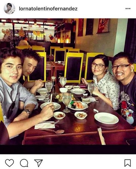 Lorna Tolentino with good-looking boys