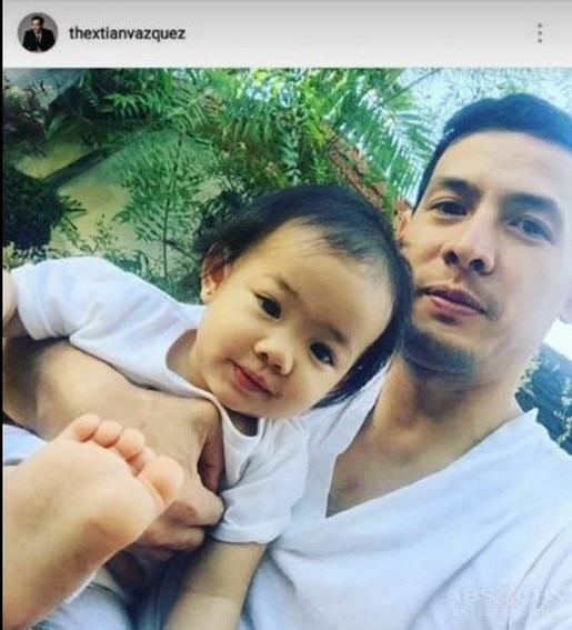 Christian Vasquez with his baby girl