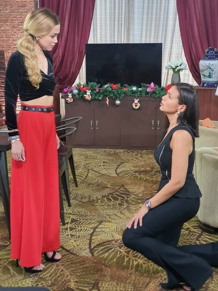 Behind-the-scenes: Ellice kneels down before Marissa in Ang Sa Iyo Ay Akin