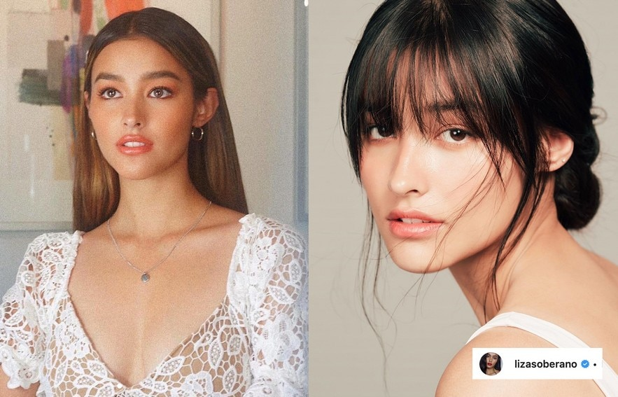 Liza Soberano's hairstyle with and without bangs
