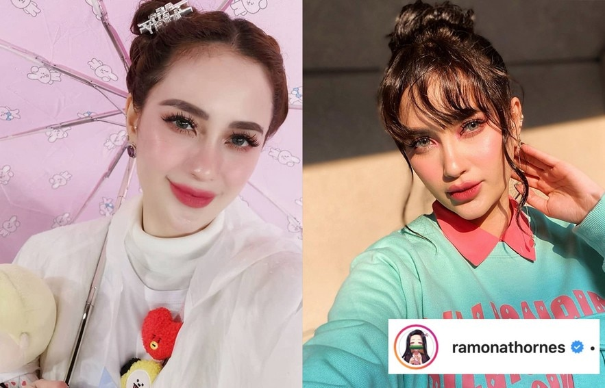 Arci Munoz' hairstyle with and without bangs