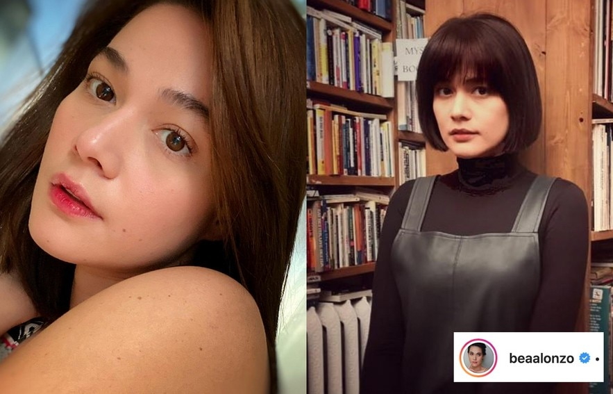 Bea Alonzo's hairstyle with and without bangs