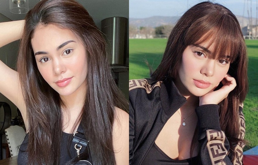 Ivana Alawi's hairstyle with and without bangs