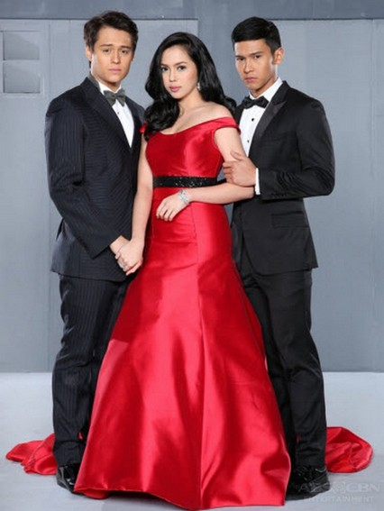 Julia Montes with Enrique Gil and Enchong Dee in Muling Buksan Ang Puso (2013)