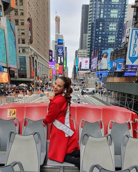 Miss Universe Catriona Gray It's Showtime wearing red New York