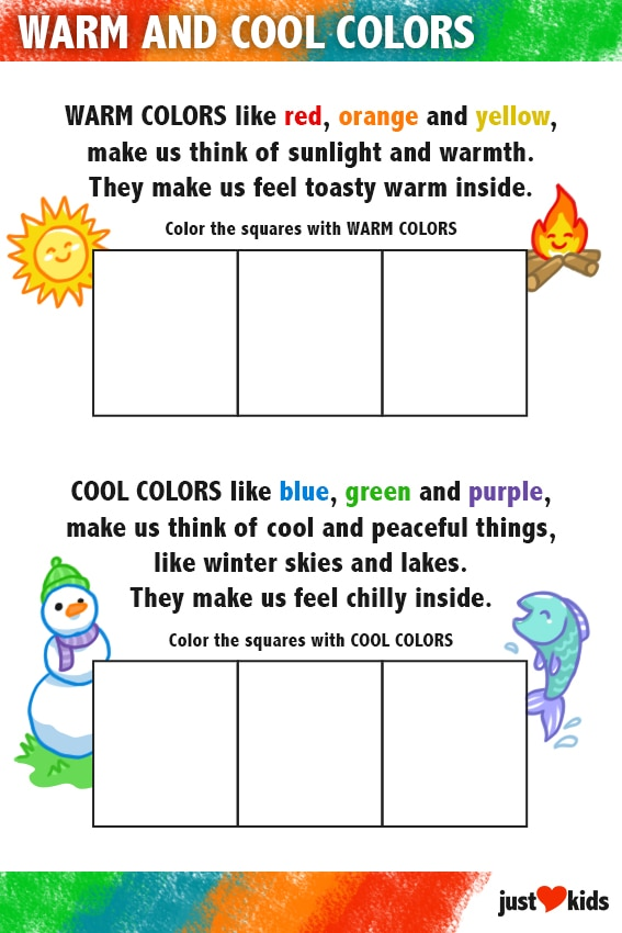 Warm and Cool Colors | Primary Activity Sheet