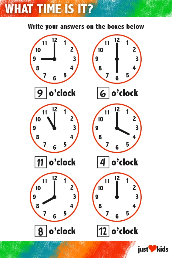 What Time Is It? (Answer Key) | Primary Activity Sheet