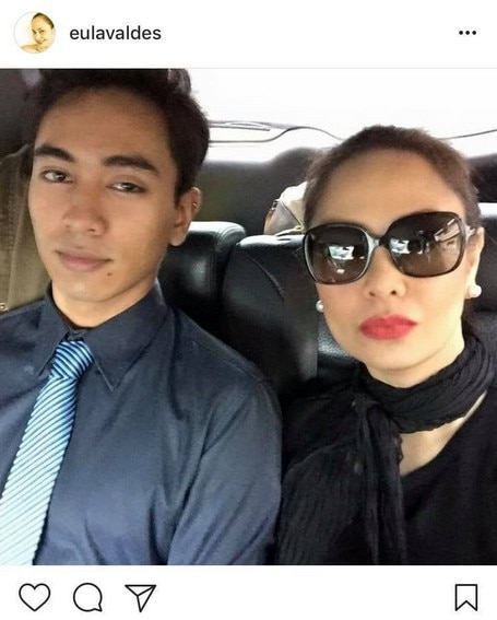 Eula Valdez with her macho gwapito son Miguel
