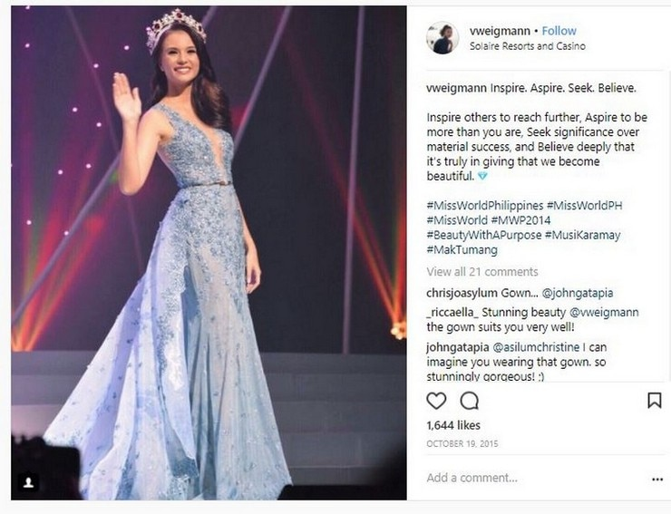 Valerie Weigmann hailed as Miss World Philippines in 2014 and represented the country in the Miss World competition held in London
