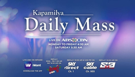 Watch the daily mass live on ABS-CBN, S+A, Jeepney TV, and iWant