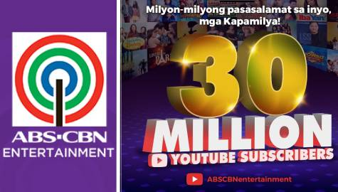 ABS-CBN Entertainment YouTube channel hits 30M-subscriber mark