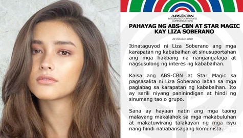ABS-CBN and Star Magic's Statement in Liza Soberano
