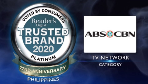 ABS-CBN wins 5th platinum award from Reader's Digest trusted brands 2020