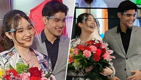 Kira Balinger gets kilig surprise from Ang Sa Iyo Ay Akin partner Grae Fernandez in Star Magic signing event