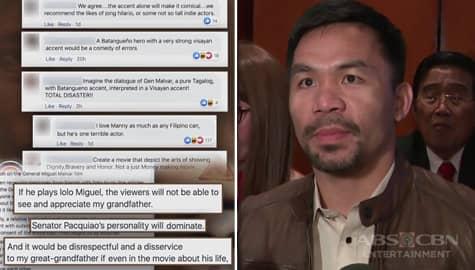 TV Patrol: Pagpili kay Sen. Pacquiao na gumanap bilang si Gen. Miguel Malvar, inalmahan ng miyembro ng pamilya Image Thumbnail