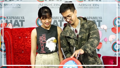 """Us Again"" stars Jane Oineza and  RK Bagatsing take on the Kapamilya Chat's Boom Balloon Challenge"