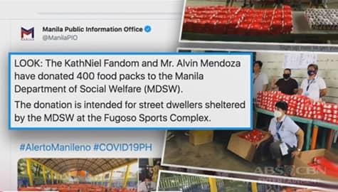 TV Patrol: KathNiel fans, namigay ng 400 food packs sa mga street dweller Image Thumbnail
