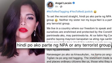 TV Patrol: Angel Locsin, iginiit na hindi sila miyembro ng NPA ng kanyang kapatid