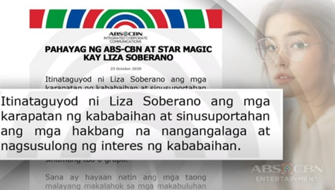 TV Patrol: Pahayag ng ABS-CBN at Star Magic kay Liza Soberano  Image Thumbnail