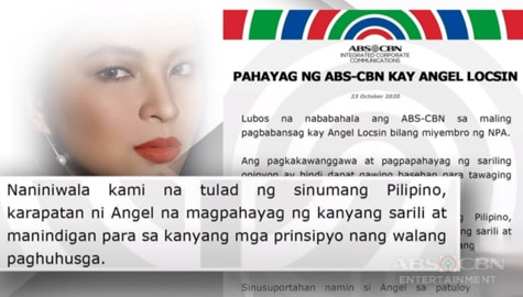TV Patrol: Pahayag ng ABS-CBN kay Angel Locsin