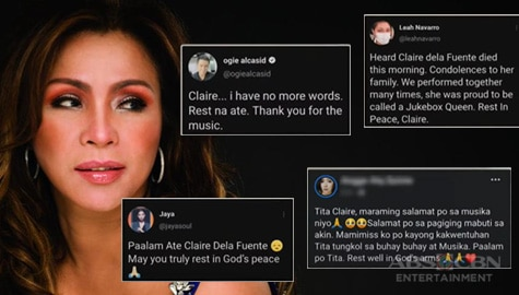 TV Patrol: OPM artists at fans, nagbigay-pugay kay Claire dela Fuente Image Thumbnail