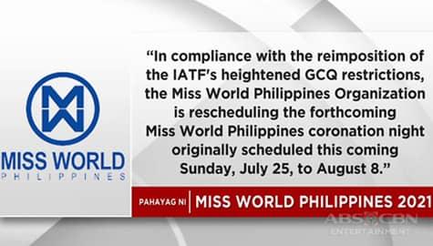 TV Patrol: 2021 Miss World Philippines coronation night, inusog sa August 8 dahil sa muling paghihigpit ng quarantine Image Thumbnail