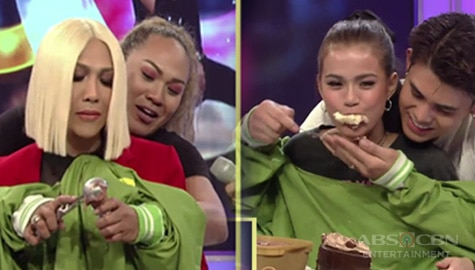 "GGV: MarNigo, Vice Ganda, Negi and Brenda take on the ""Not My Arms"" challenge!"