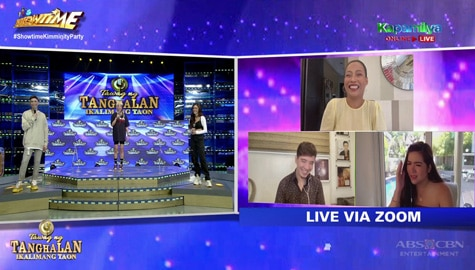 It's Showtime: Angeline, sumuko kaka-English kina Vice, Vhong at Kim Image Thumbnail