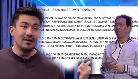 Minute To Win It: Luis, binasa ang isang fan mail para kay Master Long Image Thumbnail