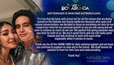TWBA EXCLUSIVE: James Reid at Nadine Lustre, kumpirmadong hiwalay na! Image Thumbnail
