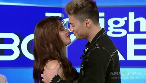 "TWBA: Loisa and Ronnie reenact a kilig scene from their movie ""James, Pat, and Dave"" Image Thumbnail"
