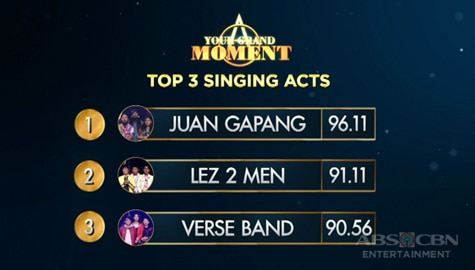 Your Moment: Juan Gapang, Lez 2 Men at Verse Band, itinanghal na top 3 singing acts na maghaharap sa grand moment! Image Thumbnail
